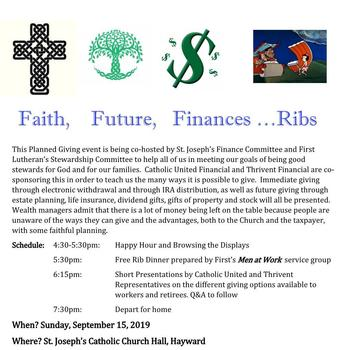 Faith, Future, Finances,...Ribs (click here for more details)