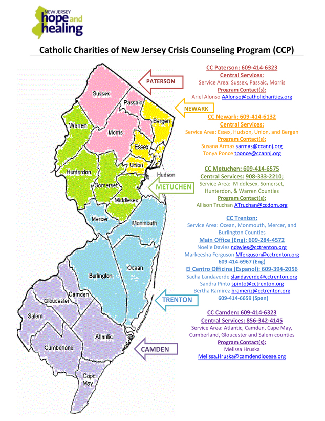 Hope and Healing New Jersey Map Paterson Crisis Counseling