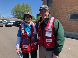 Board members Carmen Piasecki and Paul Stevenson volunteering to install smoke detectors during South Bend's Sound the Alarm campaign 2019.