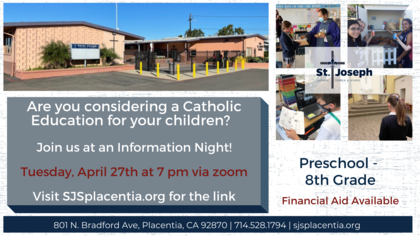 Come see all that St. Joseph Catholic School has to offer your family!