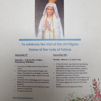 Our Lady of Fatima Statue Visit