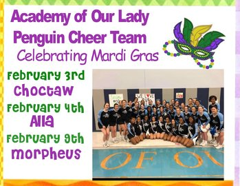 Mardi Gras Cheer Schedule