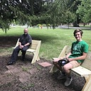 Eagle Scout candidate Thadeus O'Neill builds benches for Retreat Center