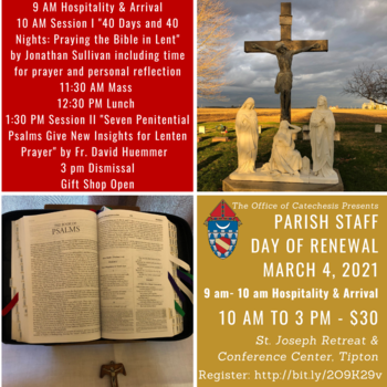 Diocese of Lafayette-in-Indiana Parish Staff Day of Reflection, $30