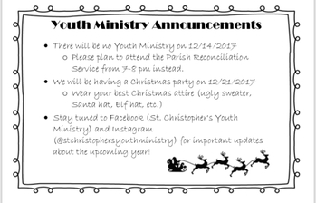 Youth Ministry Announcements