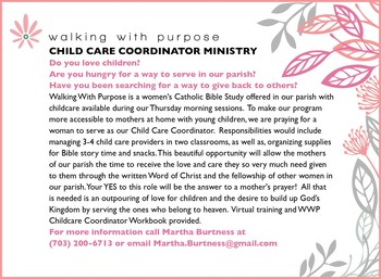 Walking with Purpose Child Care Coordinator Ministry