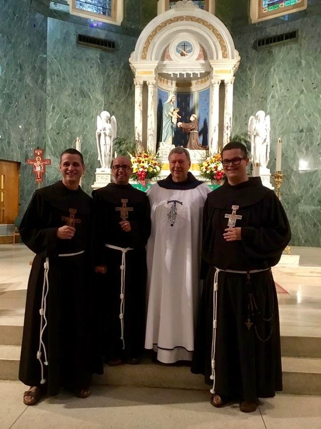 Newly-professed Friars Daniel, Carl, and Jack with Fr. Robert, Minister Provincial, on the occasion of their First Profession of Vows. They will be stationed at Convento San Francesco in Rome to continue their Franciscan Formation and studies.