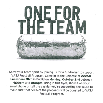 VASJ football fundraiser at Chipotle in Euclid