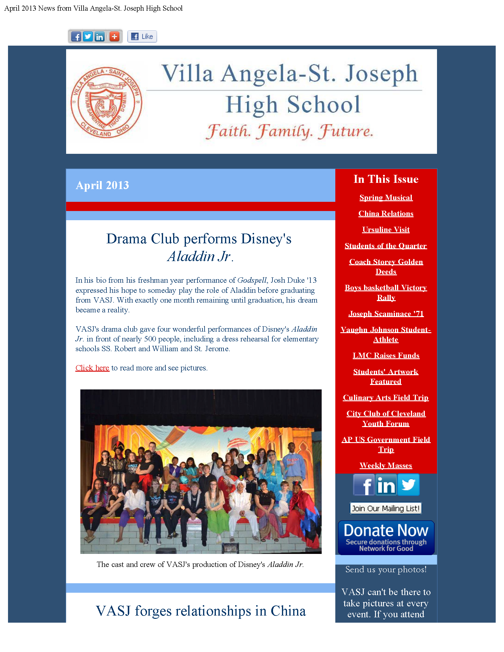 View the VASJ April 2013 eNewsletter