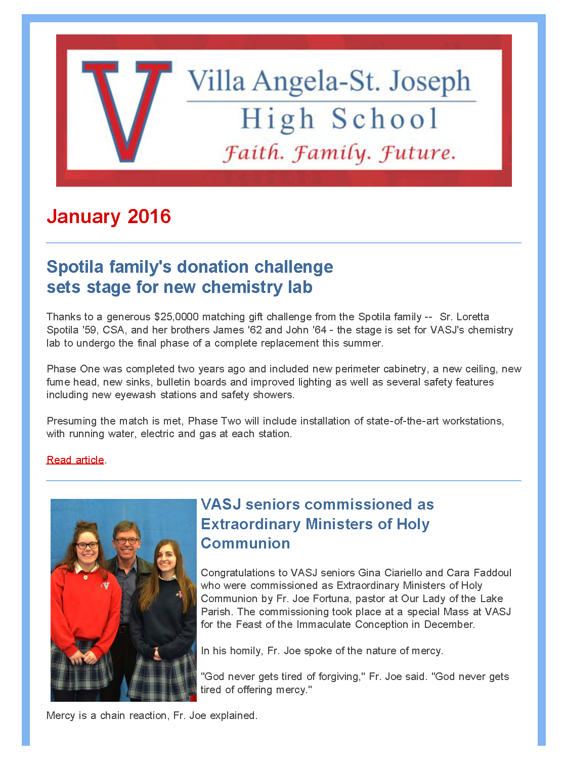 View VASJ's January 2016 e-Newsletter