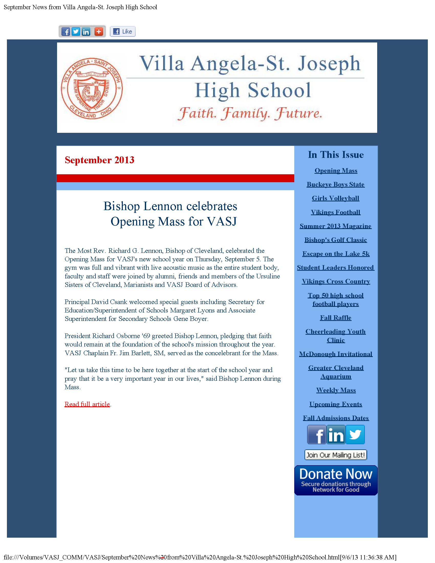View the VASJ September 2013 eNewsletter