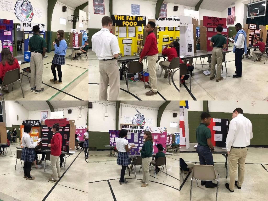 AP Chemistry students judge Ss. Robert and William science fair
