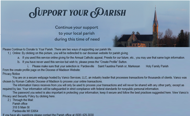 -please click on image your donation to support our Holy Family and St Faustina parishes