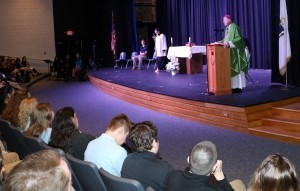 Bishop McManus preaches at a Catholic Schools Week Mass last Friday at Holy Name.  Photo by Tanya Connor | CFP