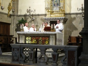 Celebrating Mass in the Duomo are Father Noah Carter, Father Bruso, Father Esposito and Msgr. Johnson.