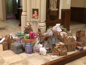 St. Mary's takes up collection for Our Lady of Providence.