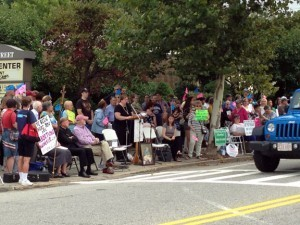 Crowds lined both sides of Pleasant Street, Worcester, protesting Planned Parenthood.