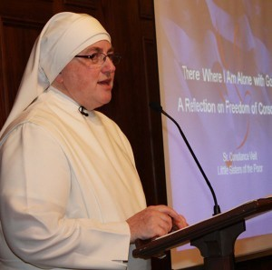 "Photo by Tanya Connor Sister Constance Veit, of the Little Sisters of the Poor, gives her presentation, ""There Where I Am Alone with God: A Reflection on Freedom of Conscience,"" for the Fortnight for Freedom."