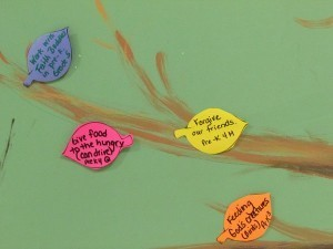 "St. Leo School has a ""mercy tree"" with leaves of merciful activities."
