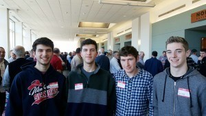 Photo by Michael O'Connell Three brothers and a friend, Nathaniel Ricardi, 17, Ethan Ricardi, 17, Caleb Ricardi, 20 and  Carson Palladini, 16, attend the Men's Conference. The students attend  Westborough High School.