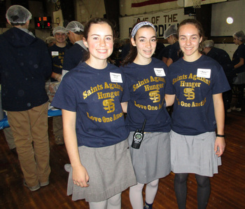 St. Bernard's students pack 22,222 bags of food