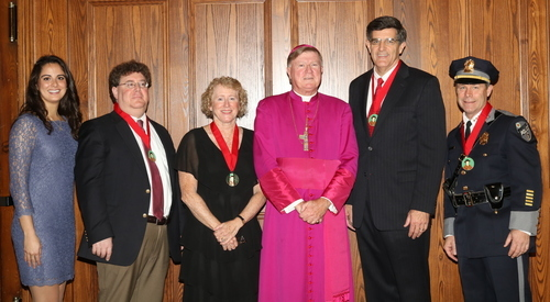 Tanya Connor | CFP Joining Bishop McManus at the luncheon after the Red Mass are the scholarship recipient Briana Mansour, and award recipients, from left: Atty. Jeffrey P. Greenberg, Atty. Patricia Finnegan Gates, Chief Justice Timothy F. Sullivan and Worcester Police Chief Steven M. Sargent.
