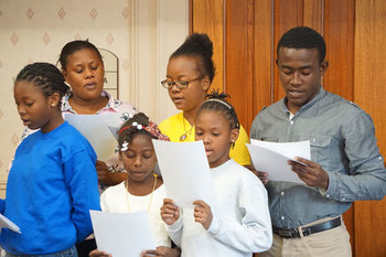 Haitian students visit diocese, sponsors