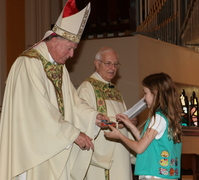 Bishop gives Scouts Religious Awards