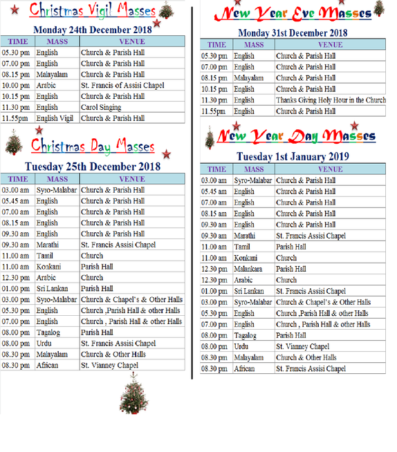 christmas and new year mass schedules