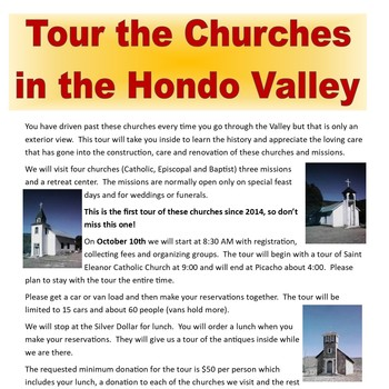 Tour the Churches in the Hondo Valley
