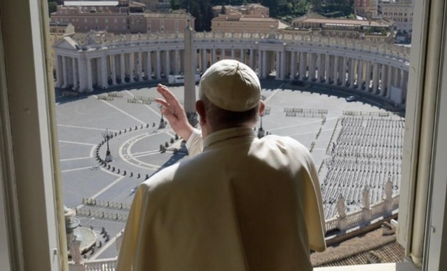 Pope Francis overlooks empty St. Peter's Square.