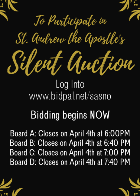 Click on the picture to check out our silent auction going on NOW through April 4th!
