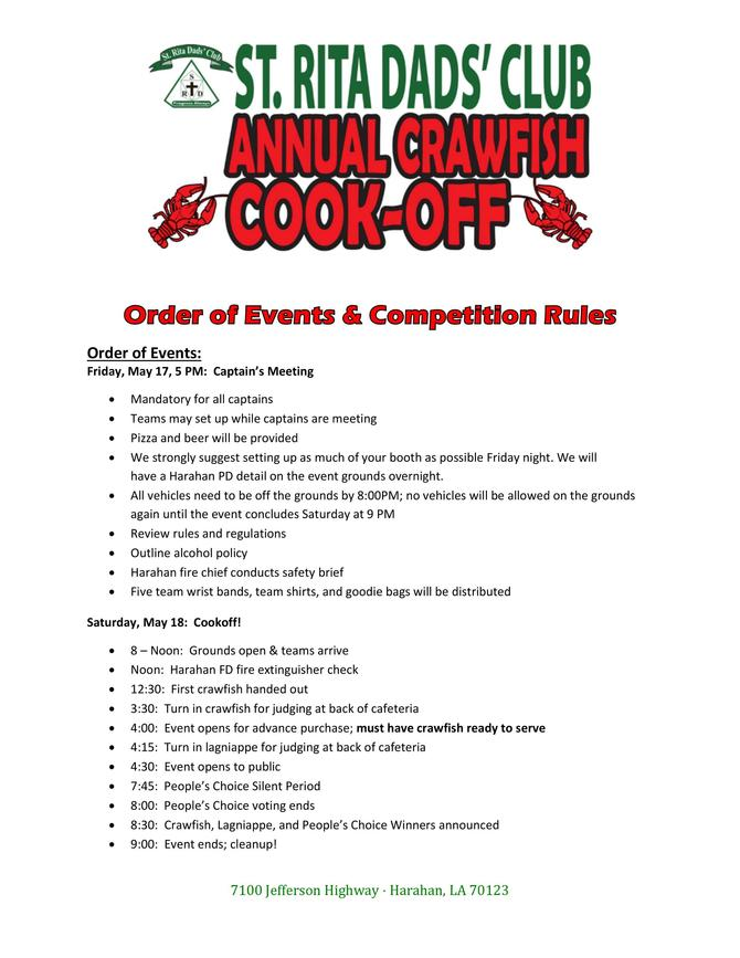 Crawfish Cookoff Events and Rules Page 1 of 5