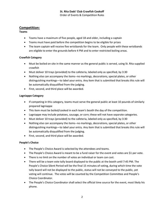 Crawfish Cookoff Events and Rules Page 2 of 5
