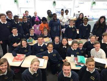 St. Mary School Students Welcome Students from Haiti