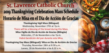 2019 Thanksgiving Day Mass Schedule