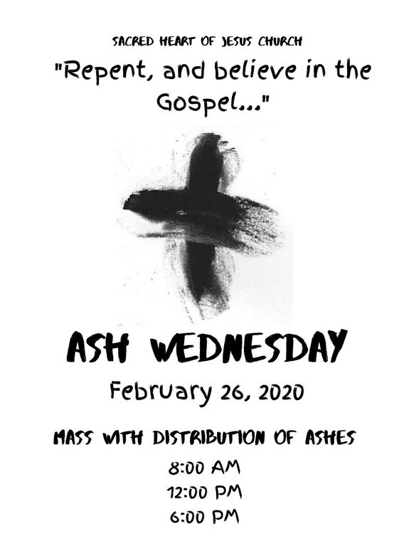 Ash Wednesday is February 26. Join Sacred Heart for the start of a prayerful Lent.
