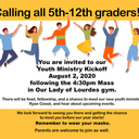YOUTH MINISTRY KICKOFF for all 5th -12th Graders