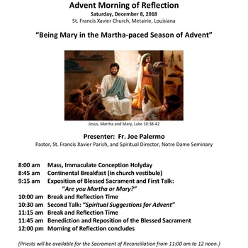 Advent Reflection with Mass, Talks, Benediction, and Reflection time
