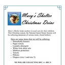 Mary's Shelter Collection Dec 4 - 9