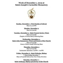 Monastery Schedule for the Week of December 1, 2019