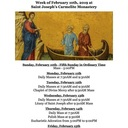Week of February 10th at Saint Joseph's Carmelite Monastery