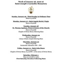 Monastery Schedule for the Week of January 26, 2020