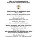 Monastery Schedule for the week of November 29, 2020