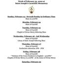 Schedule for the Week of February 23 - Ash Wednesday and Stations of the Cross begin