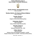 Schedule for the Week of March 8th