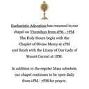Eucharistic Adoration schedule resumes each Thursday