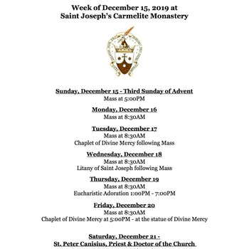 Monastery Schedule for the Week of December 15, 2019