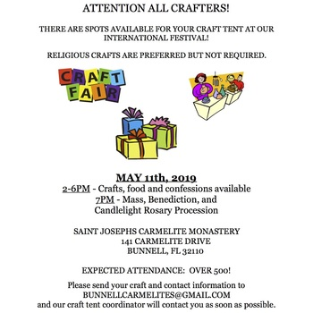 ATTENTION CRAFTERS - CRAFT TENT SPOTS AVAILABLE AT OUR INTERNATIONAL FESTIVAL!