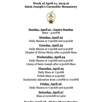 Schedule for the Week of April 21st